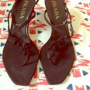 Prada Black Thong Beaded T Strap Heeled Sandal